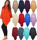 Ladies 3Button Plain Cable Knitted Cape Wrap Shawl Top Women Warm Jumper Poncho