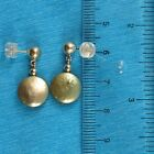 14k Yellow Gold 5mm Ball; Green Coin Cultured Pearl Dangle Earrings TPJ