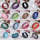 Elegant Women Rhinestone Velvet Leather Wrap Wristband Cuff Punk Bracelet Bangle