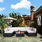 AECOJOY Outdoor Patio PE Rattan Wicker Sofa Cushioned Sectional Furniture Set
