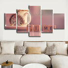 Relax Tea Time and Clock 5 Pieces Canvas Art Print Picture Home Wall Decor