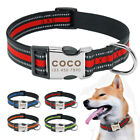 Personalised Dog Collar Reflective Custom Nylon Collar Adjustable for Large Dogs