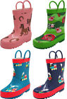 Norty Toddler Little & Big Kid Boys Girls Waterproof Rubber Rain Boots SEE VIDEO