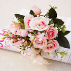 US Valentine's Day Real Touch Latex Rose Bouquet Flowers Bridal Wedding 10 Heads
