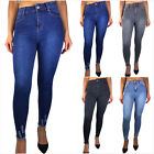 DAMEN SKINNY JEANS RÖHRENJEANS HIGH WAIST BLOGGER HOSE STRETCH DENIM 36-42 NEU