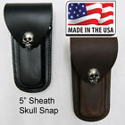 Leather Knife Sheath Black Brown Folding Multi Tool Case Pouch Holster Skull  5