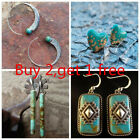 Vintage Women Charm Turquoise Hook Earrings Dangle Ear Stud 925 Silver Jewelry image