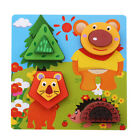 3D Wooden Jigsaw Cartoon Animal Puzzle For Toddler Children Kid Hand Grasp Toy G