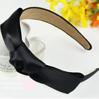 Vintage Women Cute Bow Hair Band Ruffle Girl Headband Party Gift Solid headwrap