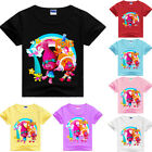 Girls Kids Trolls Cartoon Short Sleeve Cotton T-shirt Casual Summer Costumes image