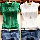 Sexy Women Girls Summer Casual Blouse Tops Ruffle Sleeve Solid Shirt Vest Blouse