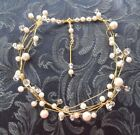HANDCRAFTED PEARL CRYSTAL NECKLACE, TWISTED WIRE, IVORY,WHITE,SILVER, GOLD, AUST