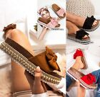 LADIES WOMENS BOW STUDDED PLATFORM PLATFORM SLIP ON HEEL WEDGE SUMMER SANDALS