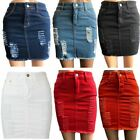 Womens Laser Cut Denim Distressed Mini Skirt Ladies Ripped Stretch Bodycon Skirt