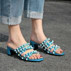 Ladies Summer Slipper Sandal Shoe Peals Mid Block Heel Casual Party Stylish 2019