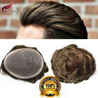 Внешний вид - Fine Mono Mens Toupee Indian Remy Black Human Hair Poly Coat Wig Hairpiece D7-3