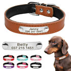 Personalised Dog Pet Leather Collars Padded Custom Pet Name ID Collar Engraved