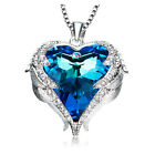 Angel Wings Heart Pendant Necklace made with Swarovski Crystal Purple/ Blue Gift