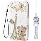 3D Nice Flip Bling Wallet Stand Case Crystal PU Leather Cover For SONY & straps