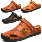 Men Leather Sandals Summer Casual Beach Shoes Closed Toe Walking Travel Outdoor