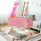 Wood Bed Baby Cradle Bassinet Space Safe Crib Nursery Infant Rocker Cot + Mat