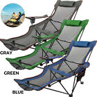 Green/Blue/Gray Reclining Folding Camp Chair W/ Footrest Lounge Camp Chair Green