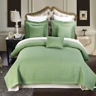 Sage Green Quilted Wrinkle Free Microfiber Coverlet AND Shams - ALL SIZES image
