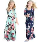 Girls Long Sleeve Ankle Length Floral Dress Tunic Gown For Kids Girls