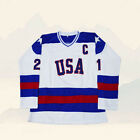 Mike Eruzione 21 USA Hockey Jersey White M 3XL 1980 Miracle On Ice Eruzione