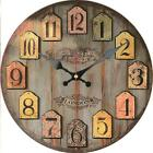 Retro Round Wooden Wall Clock Old Town London Home Office Bar Wall Decoration