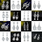 Bridal Silver Crystal Rhinestone Long Dangle Drop Earrings Women Wedding Jewelry
