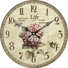 Retro Round Wooden Wall Clock Flower Bird butterfly Home Office Wall Decoration