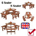 6/8 Seater Wooden Pub Beer Bench Round Picnic Table Furniture Garden Patio Cafe