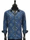 Prestige Navy Blue Dress Casual Versace Inspired Print Silk Texture Button Up...