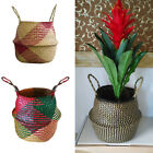 Natural Seagrass Belly Flowerpot Basket Foldable Storage Nursery Laundry Basket
