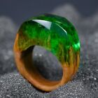 Wooden Resin Ring Anniversary Gift Green Emerald Wood And Resin Rings For Women