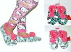 2 pairs NWT Hello Kitty Pom Pom Fleece Slipper Socks for kids 11/12,13/1,2/3