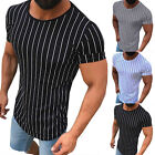 Men Vertical Striped T Shirt Short Sleeve Tee Gym Slim Fit Crew Neck Casual Top image