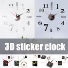 Wall Clock Watch Large Modern Simple DIY Sticker Decal 3D Roman Numeral Home F6