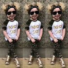US Stock Toddler Kids Baby Girl Letter T-shirt Tops + Camo Pants Outfits Clothes
