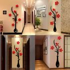 3d Flower Vase Wall Sticker Diy Acrylic Art Mural Decal Removable Home Decor