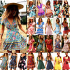 Fashion Short Sleeve Wrap Boho Floral Mini Dress Ladies Summer Sundress Holiday