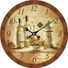 Vintage Round Wooden Wall Clock Retro Wine and Grape Home Office Wall Decor