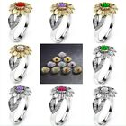 12 Colors Charm Jewelry Ladies' Rhinestone Accessory Sunflower Party Rings Us