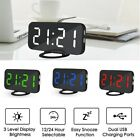 Dual USB Digital LED  Snooze Timer Mirror Automatic Dimming Alarm