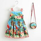 Girls 2019 New Summer Beach Cotton Dress With Cute Hand Bag Purse Floral Gown