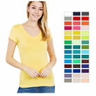 Womens V Neck T Shirt Short Sleeve Solid Fitted Stretchy Top Basic S M L