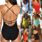 Sexy Women Backless One Piece Bikini Padded Triangle Monokini Swimset Swimwear $3.2 USD on eBay