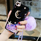 Dynamic Liquid Glitter moon star Quicksand Soft back Case Cover + neck strap #B