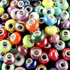 10X Candy Color Ceramic Round Silver Big Hole Beads fit European Charm Bracelet image